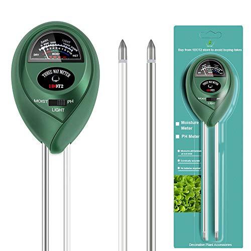 1DOT2 3-IN-1 Bodentester kein Akku Boden Feuchtigkeit Meter PH Wert Messgerät Lichtstärke Meter für Garten Pflanzen Wachstum Rasen Indoor Outdoor nutzbar