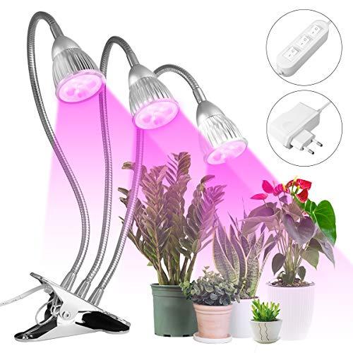 Pflanzenlampe MOHOO 15W Pflanzenlampen led Pflanzenlicht Wachsen licht Pflanzenleuchte Wachstumslampe mit 360 Grad einstellbar Flexible für Haus Garten Aquatische Pflanzen Blumen Veg Sämling