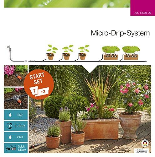 GARDENA Start Set Pflanztöpfe M Praktisches Micro-Drip-System Starterset für 7 Topfpflanzen und 3 Pflanztröge wassersparende Bewässerung 13001-20