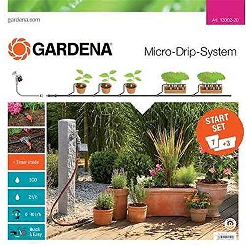 GARDENA Start Set Pflanztöpfe M automatic Das praktische Micro-Drip-System Starterset mit Bewässerungscomputer für 7 Töpfe und 3 Tröge 13002-20