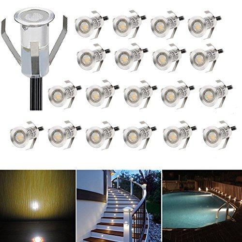 20er Set LED Lampen 04W Mini Treppen Einbaustrahler IP67 Wasserdicht Außen Lampe Boden Einbauleuchten Warmes Weiß