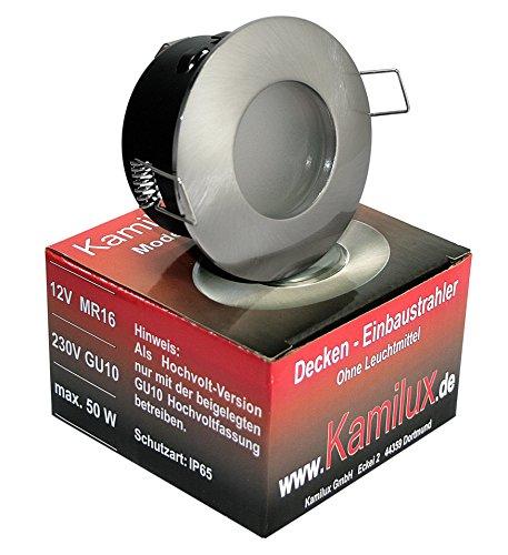 3er Set LED 5Watt Aqua IP65 mit satinierter SchutzscheibeBadezimmer Einbaustrahler BAD DUSCHE Deckenstrahler in chrom  230V GU10 5W Leuchtmittel  50W POWER LED warmweiss