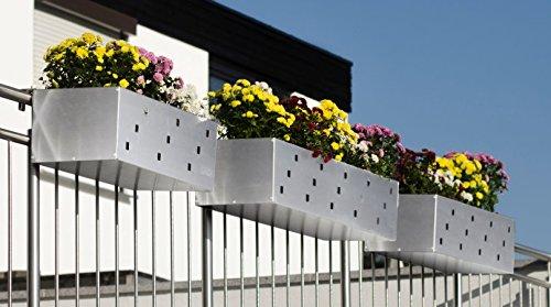 Reinkedesign Blumenkasten aus Edelstahl 100 cm mit Halterung