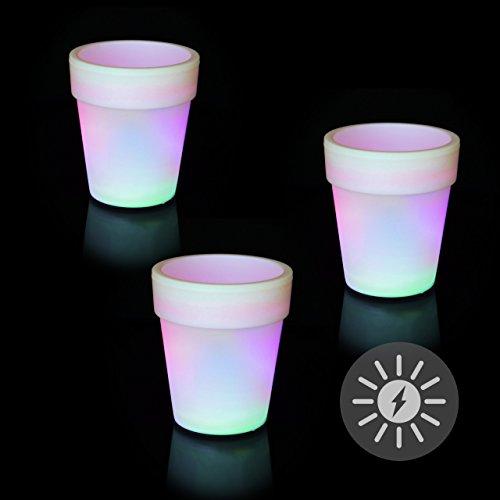 3er Set Solar Blumentopf Pflanzkübel mit 3 LED – 19 x 17 cm – Kunststoff weiß – mit Akku Wasserablauf Dämmerungssensor – Farbwechsel bunt