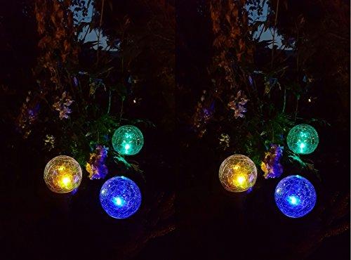 LED Solar Kugelleuchten 2 x 3er Set Solar-Glaskugel Ena mit wechselnden Lichtfarben Solarspieß Kugel Crashglas Bruchglas Optik Gartenleuchte Blumentopf Gartenstecker Solarstäbe Solarlampe Dekoration Leuchte