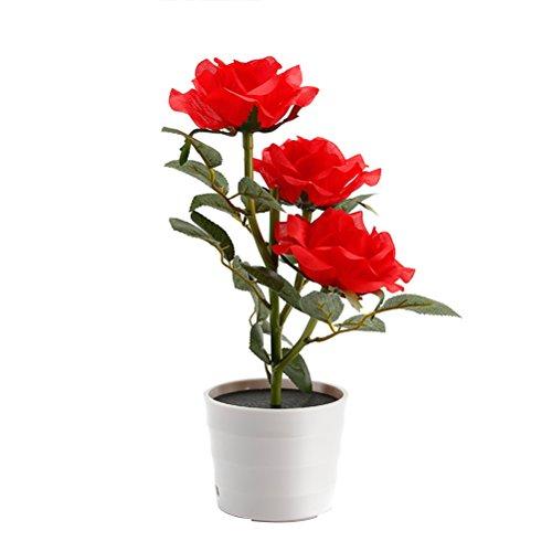 LEDMOMO Solar-Blumentopf LED Lampe Rose Blume Tischlampe 3 Lichter Blume LED Flexible Blume Schreibtisch Lampe für Haus Garten Zimmer Dekoration rot