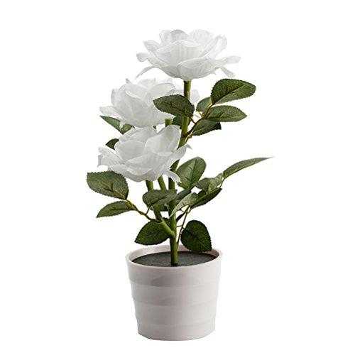 LEDMOMO Solar-Blumentopf LED Lampe Rose Blume Tischlampe 3 Lichter Blume LED Flexible Blume Schreibtisch Lampe für Haus Garten Zimmer Dekoration weiß