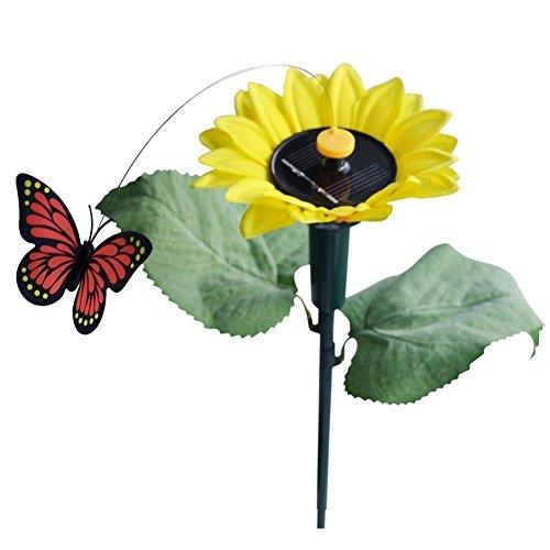 Solar Sonnenblume mit Schmetterling - SODIALR1x Tanzend SolarBatterie Sonnenblume mit Schmetterling auf Gartensteckern Garten Rasen Blumentopf Blumenbeet Deko Ornament Farbe Random