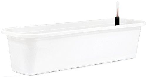 Blumenkasten mit Wasserspeicher und Untersetzer Blumentopf Balkonkasten weiß 50 cm
