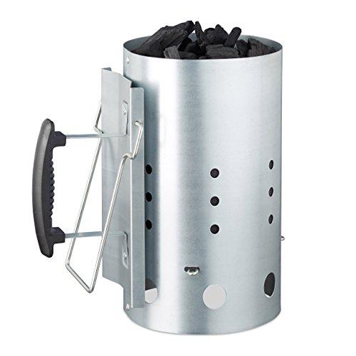 Relaxdays XL Stahl Grillkohleanzünder für BBQ Kamin Grills HxD 30 x 19 cm Grillstarter Silber Anzündkamin