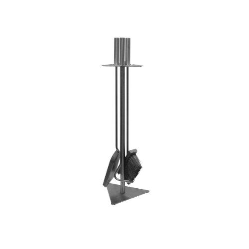 amino- Flam Kaminbesteck 3-teilig - Kamin-Zubehör mit Besen  Schaufel  Schürhaken  Ständer - Kamingarnitur mit Stahlgriffen Grau - Kamin-Werkzeuge aus Stahl - Kaminzubehör mit Standfuß für Holzofen