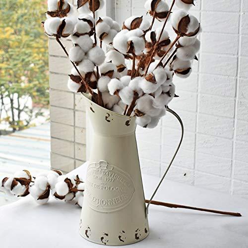 HyFanStr rustikalen Stil Metall-Krug Deko Blume Vase Primitive Kanne cremefarben