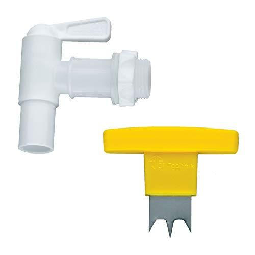 3P Technik Filtersysteme Auslaufhahn Absperrhahn Wasserhahn weiß 34 inkl Dichtung Kontermutter und Handbohrer für Ihre Regentonne BZW Regenwassertonne und Regenwassertank