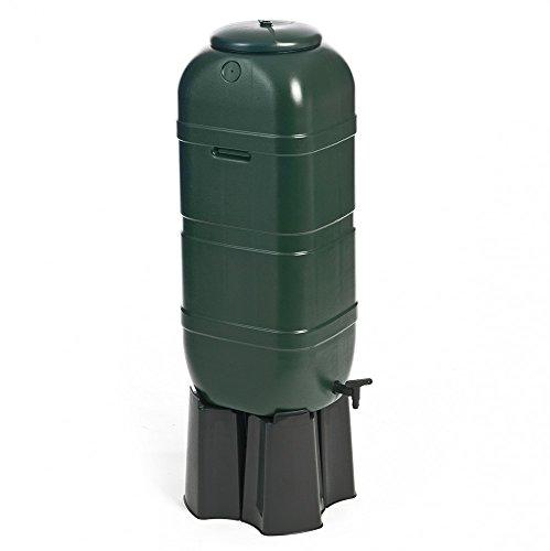 Kreher Regentonne Wassertonne 100 Liter in Grün mit Stand Füllautomat und Wasserhahn Optimal ua für Balkone und Gartenlauben Topp