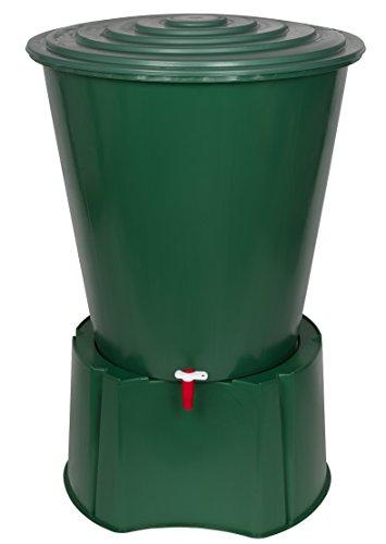 Kreher XL Regentonne 210 Liter aus Kunststoff in Grün Mit sehr Robustem Monoblock Stand Wasserhahn und Deckel mit Sicherheitsverschluss Top Qualität