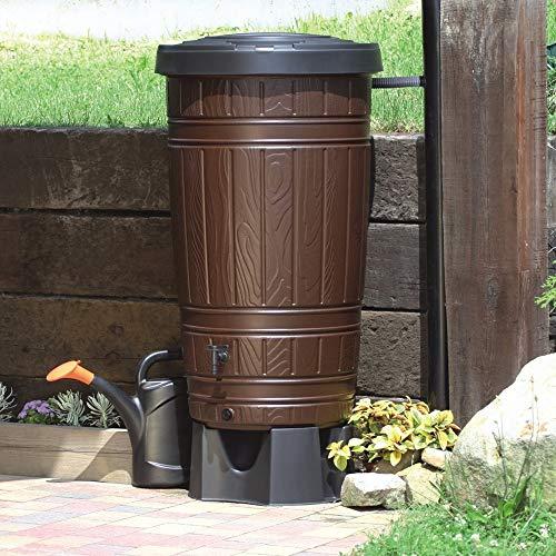 Regenwassertonne Regentonne Regenbehälter Regentank Amphore 265L 2 Farben Wasserhahn wählbar Braun