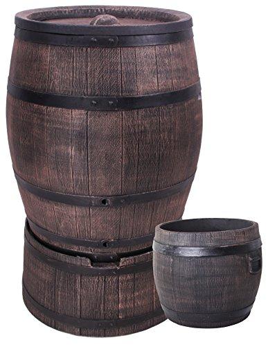 Eiche Wasserfass Regentonne Wasserbehälter Amphore Eichenfass 240 Liter mit Ständer  Pflanzkübel M