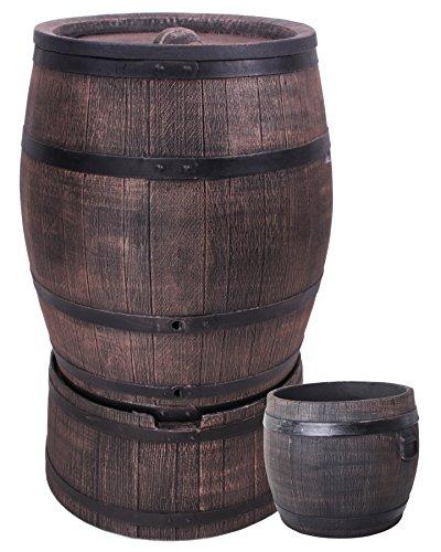 Eiche Wasserfass Regentonne Wasserbehälter Amphore Eichenfass 240 Liter mit Ständer  Pflanzkübel S