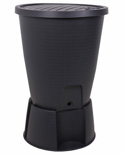 Ondis24 Regentonne schwarz Regenwassertank Wasserfass Regenwassertonne 220 Liter mit Deckel Ständer Hahn und Füllautomat