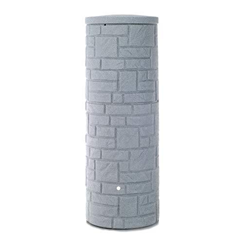 Regentonne grau Regenwassertank Arcado 360 Liter granit aus UV- und witterungsbeständigem Material Regenfass bzw Regenwassertonne mit kindersicherem Deckel und hochwertigen Messinganschlüssen