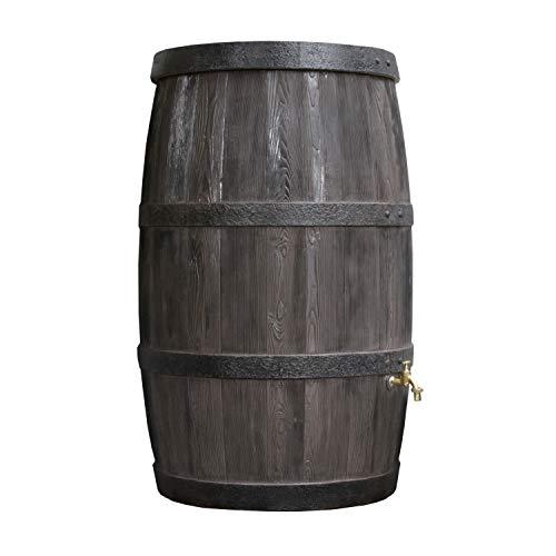 Regentonne rund Regenwassertank Burgund 500 Liter braun aus UV- und witterungsbeständigem Material Regenfass bzw Regenwassertonne mit kindersicherem Deckel und hochwertigen Messinganschlüssen