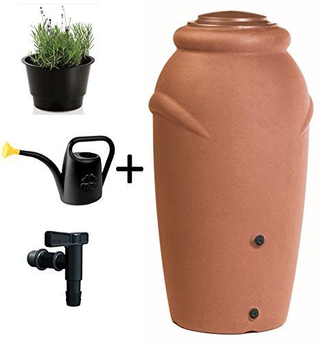 Regentonne Wassertonne Regenfass Wassertank Amphore 210L mit Wasserhahn Terracotta