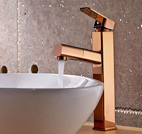 LQY Voll Kupfer Heiß und Kaltwasser Hahn Pullable Rose Gold Bad Faucet Hotel Apartment Wasserhahn