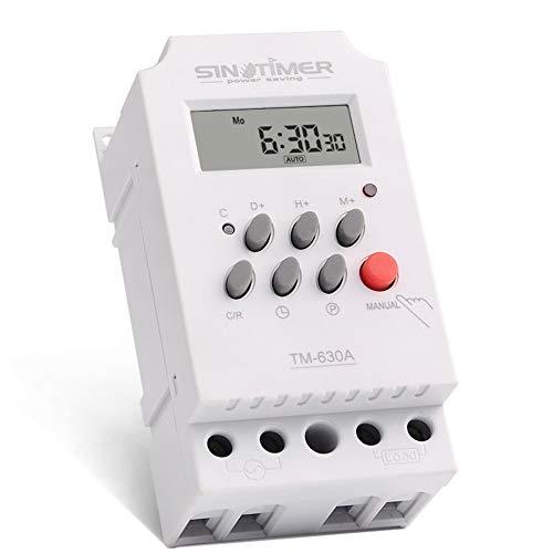 SINOTIMER 12V 30A Wöchentlich 7 Tage Programmierbare digitale Zeitschaltuhr-Relaissteuerung für Elektrogeräte mit Wecker - Weiß 40mAh