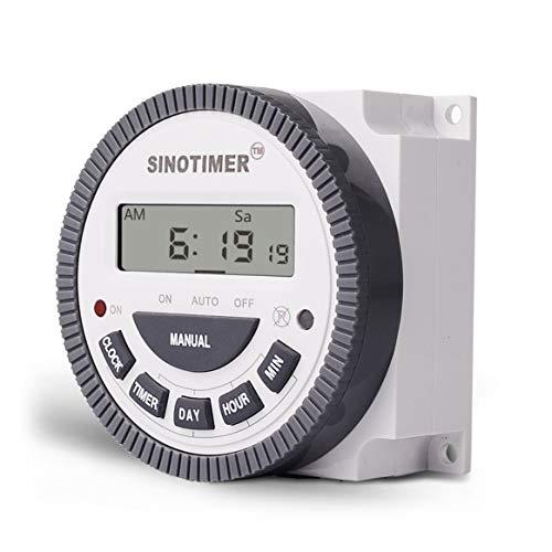 SINOTIMER 220V 30A Wöchentlich 7 Tage Programmierbare digitale Zeitschaltuhr-Relaissteuerung für Elektrogeräte mit Wecker - Weiß 40mAh