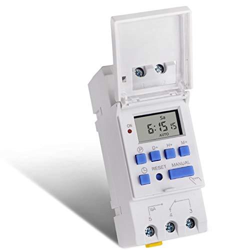 Swiftswan ACDC 12V wöchentlich 7 Tage Programmierbare Digitale Zeitschaltuhr Relay Zeitsteuerung Din-Schienenmontage für Elektrogeräte