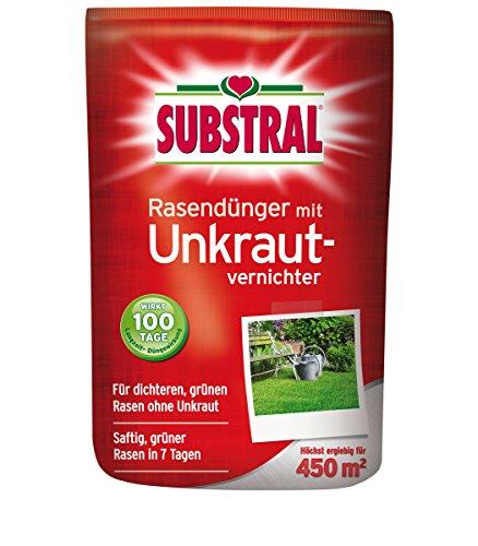 SUBSTRAL Rasendünger mit Unkrautvernichter für 450qm 9 kg Volldünger Langzeitdünger