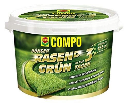 COMPO Rasen Grün 375 kg Rasendünger Grünfärbung Ihres Rasen innerhalb von nur 3 Tagen