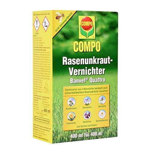 COMPO Rasenunkraut-Vernichter Banvel Quattro Nachfolger Banvel M Bekämpfung von schwerbekämpfbaren Unkräutern im Rasen Konzentrat 400 ml 400 m²