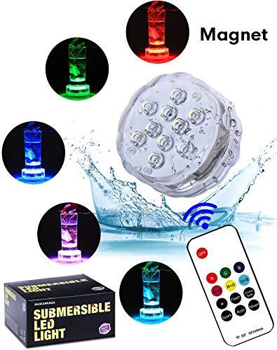 Unterwasser Licht mit RF Fernbedienung - Alilimall Wasserdichte whirlpool Multifarbene Magnet beleuchtug LED Beleuchtung Badewannen LED Poolbeleuchtung für Teich Aquarium Weihnachtsdekoration