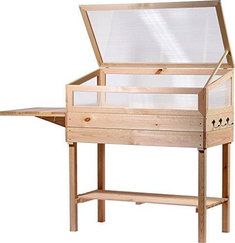 dobar 58395e Hochbeet mit Plexiglas-Aufsatz und Ablagefläche Frühbeet mit ausklappbarem Tisch und Hakenleiste Gr L 150 x 50 x 107 cm Kiefer