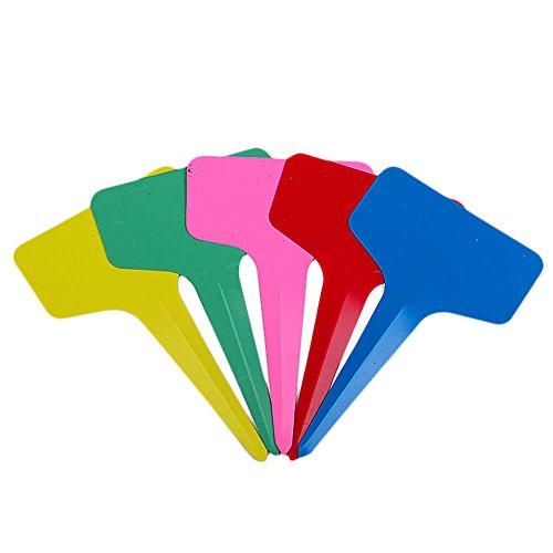 Dosige 50 Stück Pflanzenstecker Plastik Stecketiketten Beschriften Pflanzschilder Schilder für Garten Pflanzen T-Form Zufällige Farbe