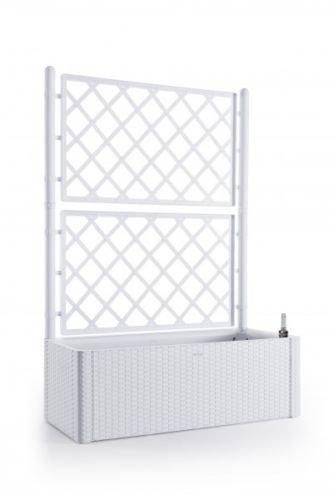 Kreher XL Rankgitter Spalier mit Pflanzkasten in moderner Rattan-Optik aus robustem Kunststoff in Weiß Maße BxTxH in cm 100 x 43 x 142 cm Topp für Garten Terrasse und Balkon