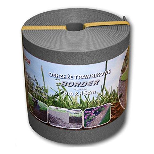 Rasenkante Kunststoff 6mx15cm grau Beetumrandung Mähkante Beeteinfassung