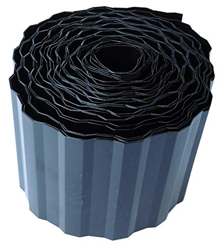 EXCOLO Rasenkante 9m lang 10cm hoch Farbe SchwarzAnthrazit Rasenumrandung Beetbegrenzung Raseneinfassung Mähkante trapez wellung