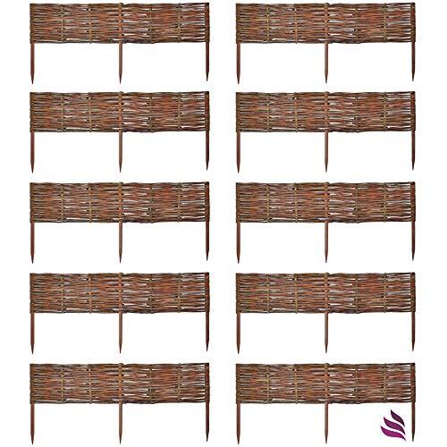 Floranica 10 X Weide Beeteinfassung Steckzaun in 25 Größen Rasenkante Weidenzaun - imprägniert mit Buchepflöcke für Leichtes Einsetzen Länge50 cm Höhe20 cm