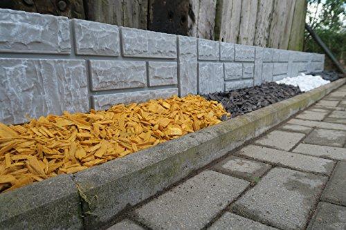 Steinimitat Zaun Rasenkante Palisade Beeteinfassung antikgrau 234 m x 20 cm x 25 cm stark schnelle Lieferung Versand