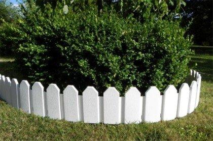 Zaun 4 tlg Rasenkanten Beeteinfassung Palisade Beetumrandung Garten Rasen Zierzaun Gartenzaun weiß 236 m und Sichthöhe von 18 cm