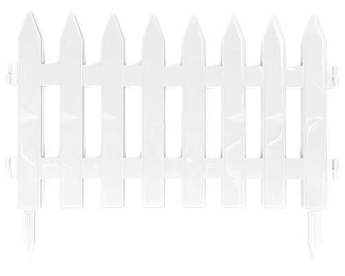 Ondis24 Beeteinfassung Beetzaun Gesamtlänge 320m Zaun für Blumenbeet natürlicher Schutz vor Tiere Abgrenzung Gehweg Garten Dekoration Outdoor Weiß