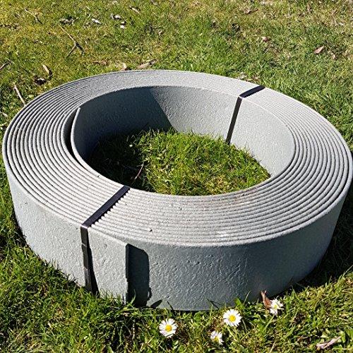 Stabile Rasenkante Beetumrandung Beeteinfassung Mähkante Profilkante Rakaflex ca 14 cm hoch x 25 m lang Grau