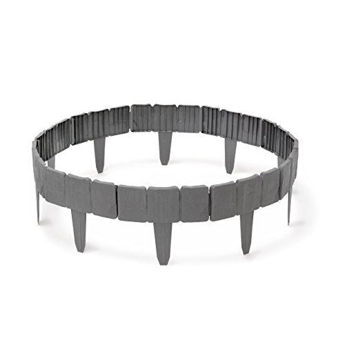 Relaxdays Rasenkante in Steinoptik 10-teilige Umrandung für Beete Mähkante Kunststoff HxBxT 10 x 250 x 2 cm grau