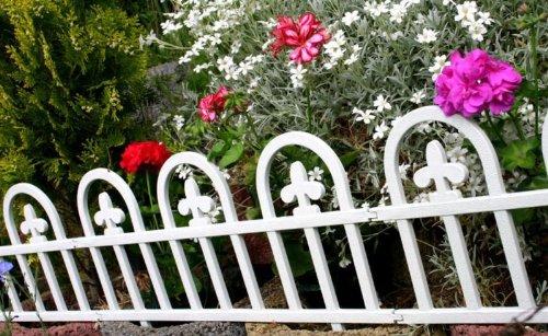 WOOLUX GARDEN Zaun Rasenkanten Beeteinfassung Palisade Beetumrandung Garten Rasen Zierzaun Gartenzaun 4er Set 240 m