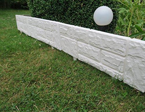 Zaun 4 tlg 234 m x 20 cm weiß Rasenkanten Beeteinfassung Palisade Beetumrandung Zierzaun Gartenzaun