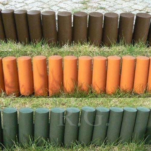 rg-vertrieb Palisade Beetumrandung Rasenkante Beeteinfassung Zaun 21m Grün Braun Terrakotta zur Auswahl Terrakotta