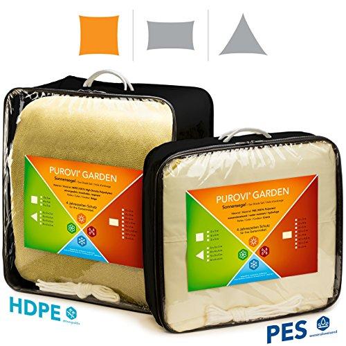 Purovi Sonnensegel Quadrat  Verschiedene Größen  UV Schutz  wasserabweisendes PES  Größe 4 x 4m