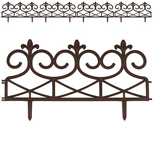 Rasenkante Palisade Beeteinfassung Mähkante  Royal Zaun  60 x 30 cm  braun  4er Set  Modell- und Farbwahl